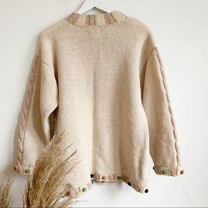 Prides Landing Sweaters - Prides Landing Wool Beige Fall Chunky Sweater M